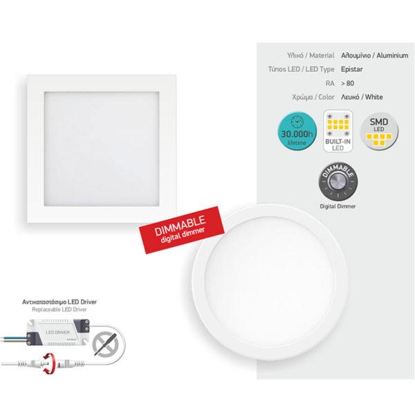 Χωνευτό Λεπτό LED Οροφής Στρογγυλό 20W SMD - Dimable