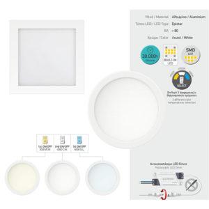 Χωνευτό LED Οροφής 20W SMD με Επιλογές Θερμότητας Φωτισμού