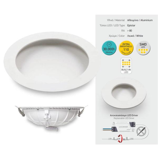 Χωνευτό LED Οροφής 5W SMD - Extra Brightness