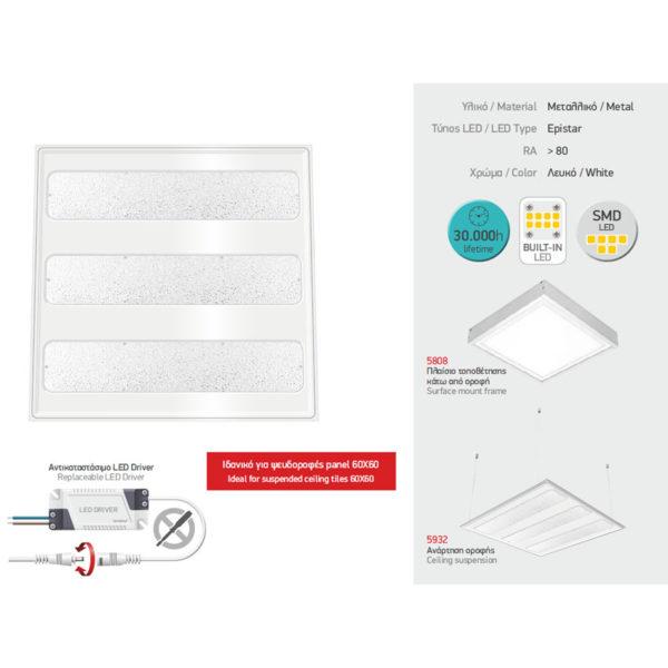 Χωνευτό Πάνελ Οροφής LED 36W SMD