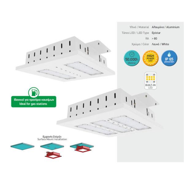 Φωτιστικό Οροφής LED Βενζινάδικου HPL 100W HIGH POWER