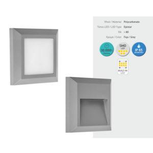 Απλίκα LED Τετράγωνη Εξωτερικού Τύπου 3W SMD