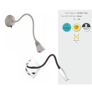 Απλίκα Εύκαμπτη LED Κωνικό Τελείωμα Γκρί 3W COD ON/OFF